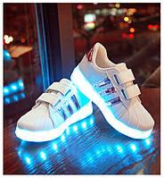 Светящиеся кроссовки LED Superstar на липучках бело-розовые  5108-3 Хит Продаж