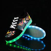 LEd кроссовки черные с Граффити на шнурках 5122 Хит Продаж