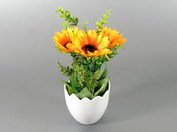 Цветок искусственный в горшке Подсолнух