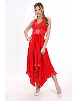 Платье Нарядное открытая спина красное Батал
