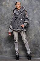 Жіноче пальто з хутром сіре Грейс