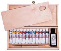 Подарочный Набор масляных красок Мастер-Класс 12 * 18мл + кисточка, дерево