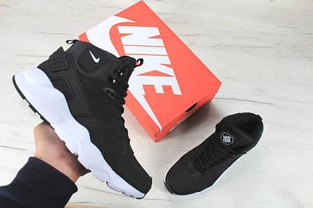 Кроссовки зимние мужские Найк Nike Air Huarache High Top Black White. ТОП Реплика ААА класса., фото 2
