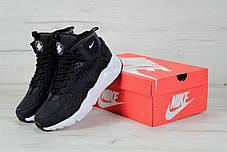 Кроссовки зимние мужские Найк Nike Air Huarache High Top Black White. ТОП Реплика ААА класса., фото 3