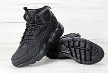 Кроссовки зимние мужские Найк Nike Air Huarache High Top Triple Black. ТОП Реплика ААА класса., фото 3