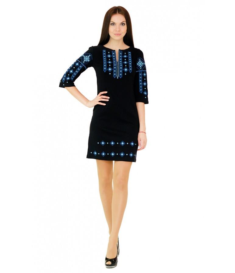 Чорне плаття з синьою ромбічною вишивкою - Цікавий магазинчик в Яготине 1b33fefd40989