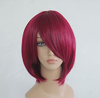 Короткий парик Бургунди, длина - 35 см, косплей парик, парик на каждый день