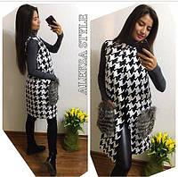 Женский модный жилет с меховыми карманами