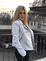 Женская красивая белая куртка косуха из эко-кожи /кожзам