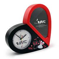 Часы Сердечко с зеркалом красно-черный 19х3 см