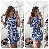 Женское красивое платье из штапеля с поясом (2 цвета)