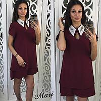 Женское модное платье-трапеция с украшением на воротнике (6 цветов)