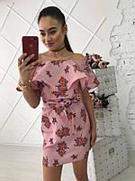 Женское стильное платье из хлопка с воланами (2 цвета)