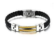 Стильный Мужской кожаный браслет сталь (подарок), фото 1