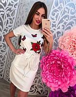 Женское модное повседневное платье с карманами  и нашивкой (3 цвета)