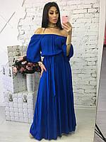 Женское модное платье в пол из штапеля (5 цветов)