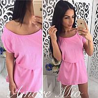 Женское розовое стильное платье из штапеля