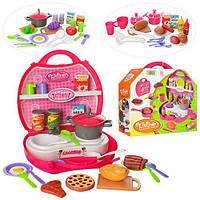 Детския игровая Кухня 8336ABC плита+мойка, посуда, продукты, чемодан, от32предм, 3вида, в кор-ке, 30-28-9, 5см