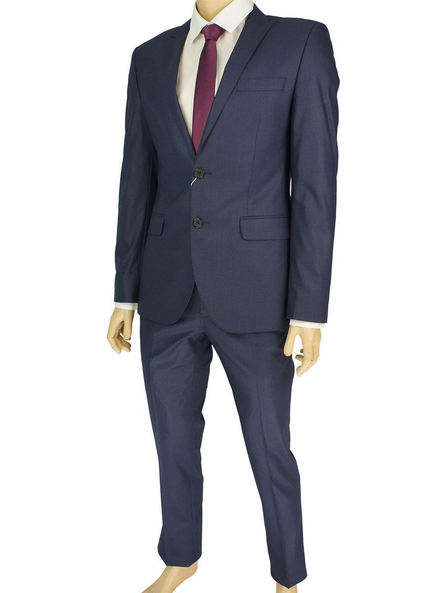 Приталенный мужской костюм Giordano Conti 253#3 темно-синего цвета