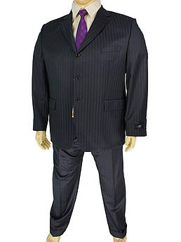 Чорний чоловічий класичний костюм Mario Bellucci 4152-1 з темними смужками