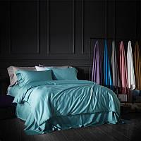 Однотонное постельное белье из сатина Aqua Blue