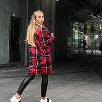 Женское стильное шерстяное пальто в клетку (3 цвета)