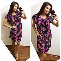 Женское стильное летнее платье из штапеля (3 цвета) принт 1