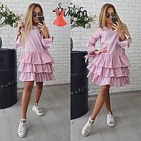 Женское пышное хлопковое платье (3 цвета) розовый