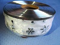 """Новогодняя Лента из органзы """"Снежинка"""" цвет серебро. 3.8 см"""