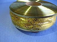 """Новогодняя Лента из органзы """"Снежинка"""" цвет золото 3.8 см"""