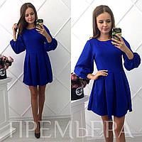 Женское красивое платье с юбкой-солнце  темно-синее