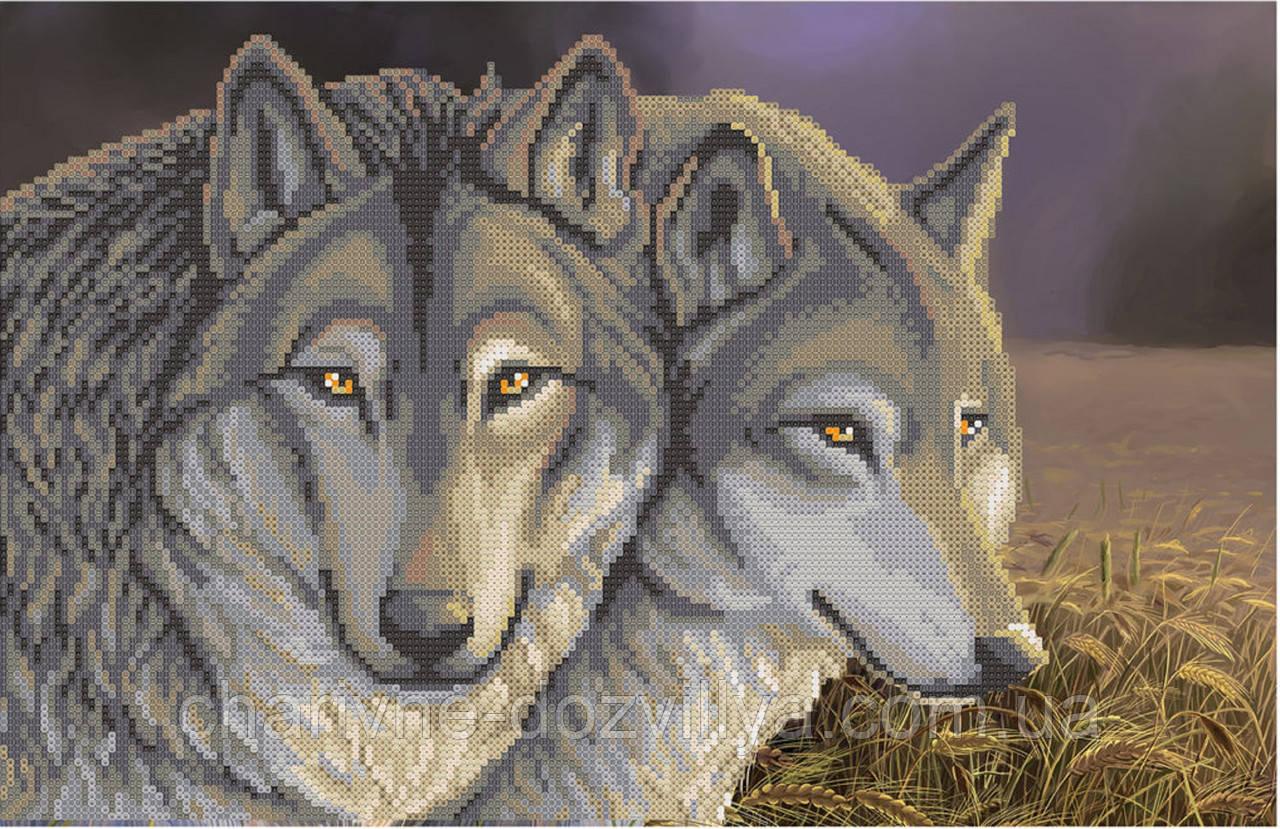 """Схема для вишивки бісером на атласі """"Вовки в пшеничному полі """""""