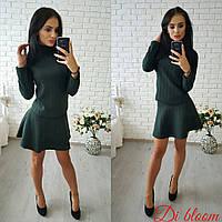 Женский стильный теплый костюм с юбкой: кофта и юбка-солнце