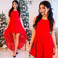 Женское стильное гипюровое платье с асимметричным низом (5 цветов)