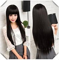Парики черный парик черный длинный пари с челкой