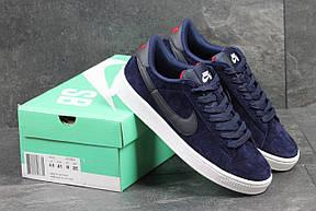 Мужские кроссовки Nike SB замшевые темно синие, фото 2