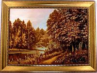Картина осенний лес из янтаря