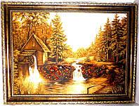 Янтарный пейзаж с мельницей