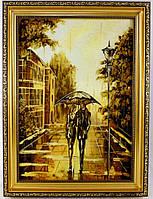 Картина из янтаря прогулка под зонтом