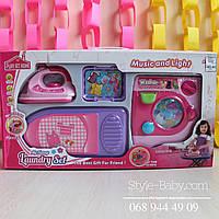 Деткая бытовая техника, стиральная машинка, утюг, гладильная доска и корзина на батарейках в коробке 56*30,5*9