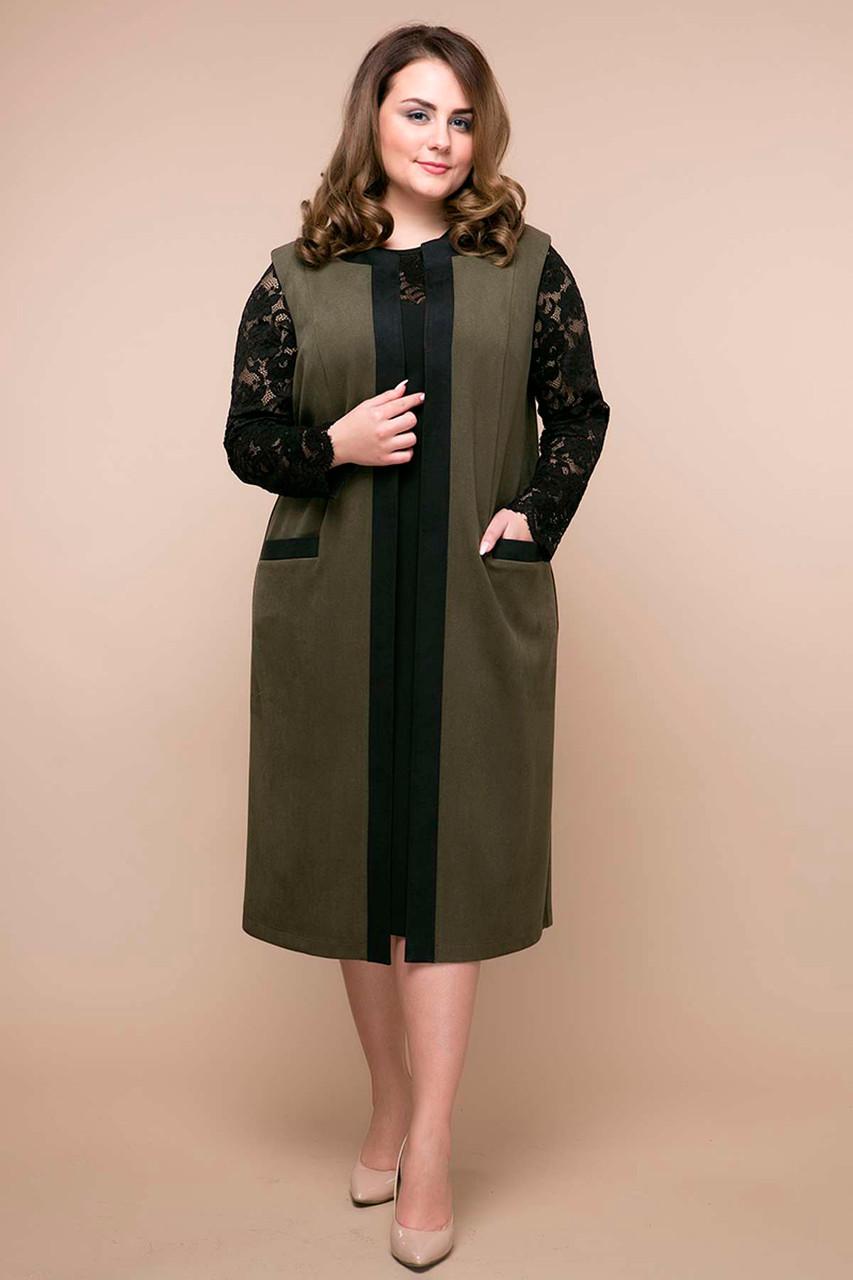 97620483000 Костюм больших размеров платье и кардиган Брукс коричневый (54-56) - DS Moda