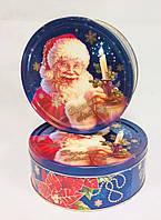 Новогодняя коробка с крышкой из жести 19х6,6 см,  Санта Клаус Рождественник, Новогодняя упаковка, Днепр