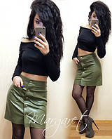 Женская модная кожаная юбка на кнопках