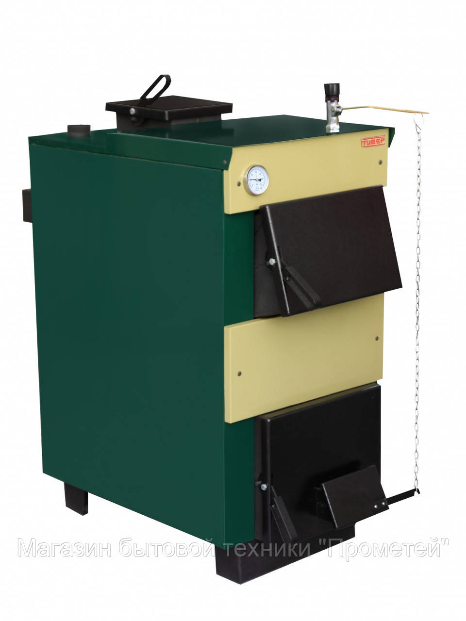Котел твердотопливный ТИВЕР-КТ 12 Е кВт (з вентилятором і контролером)