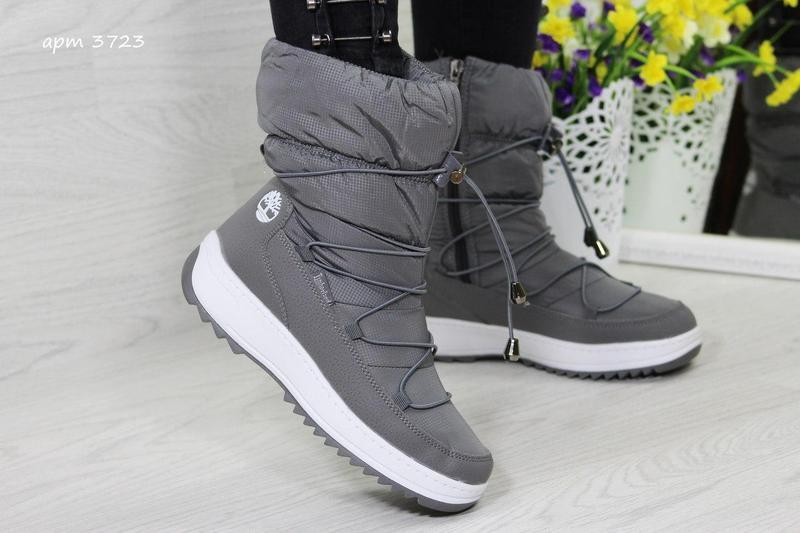 Жіночі зимові чоботи - дутіки 3723 Timberland сірі 33c0de7df98bb