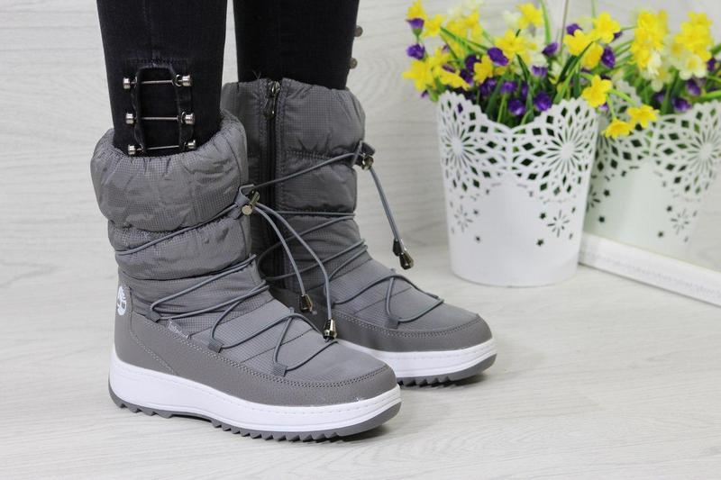 ... Жіночі зимові чоботи - дутіки 3723 Timberland сірі 205c7351fbe06