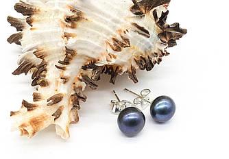 Серьги гвоздики, Синяя Жемчужина, родий