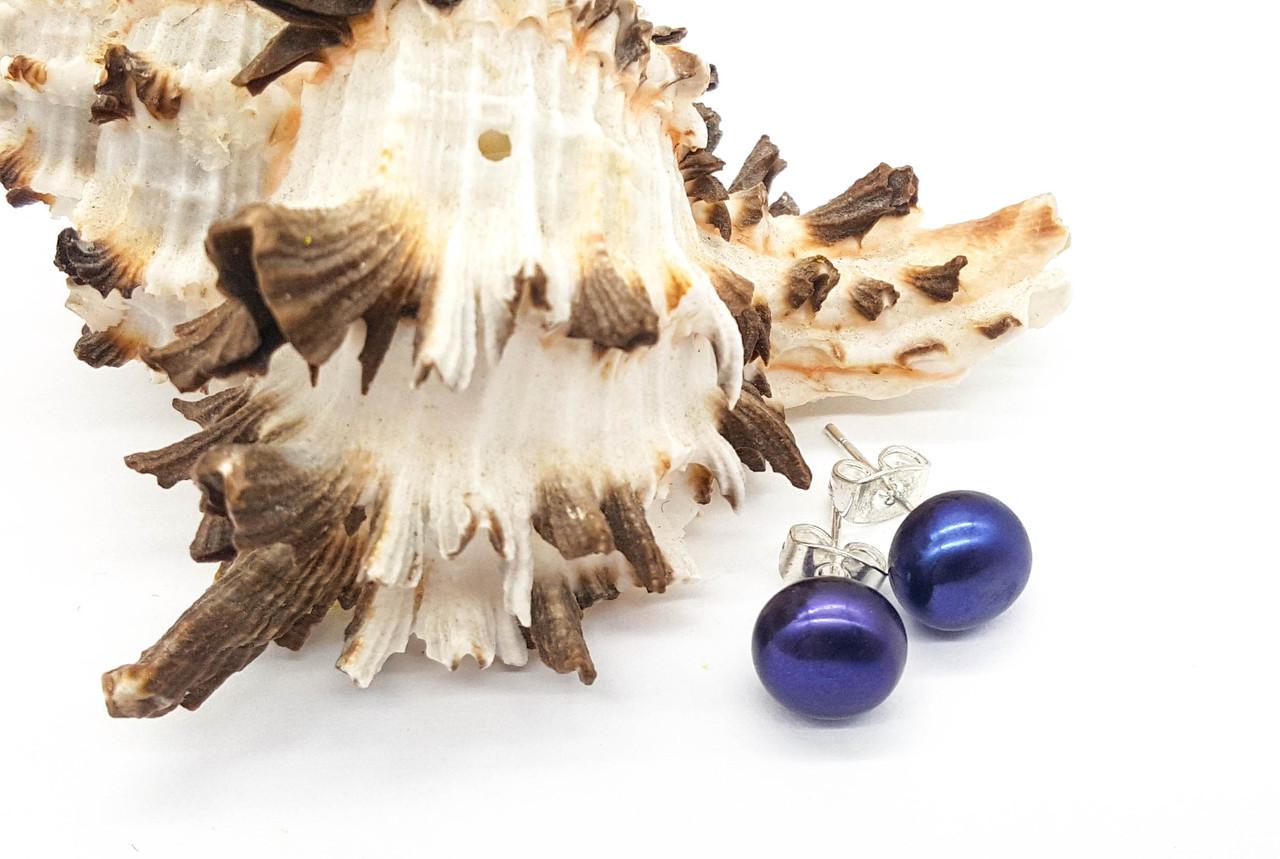 Серьги гвоздики, натуральный Жемчуг с фиолетовым отливом, гвоздики
