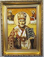 Ікона Микола з бурштину