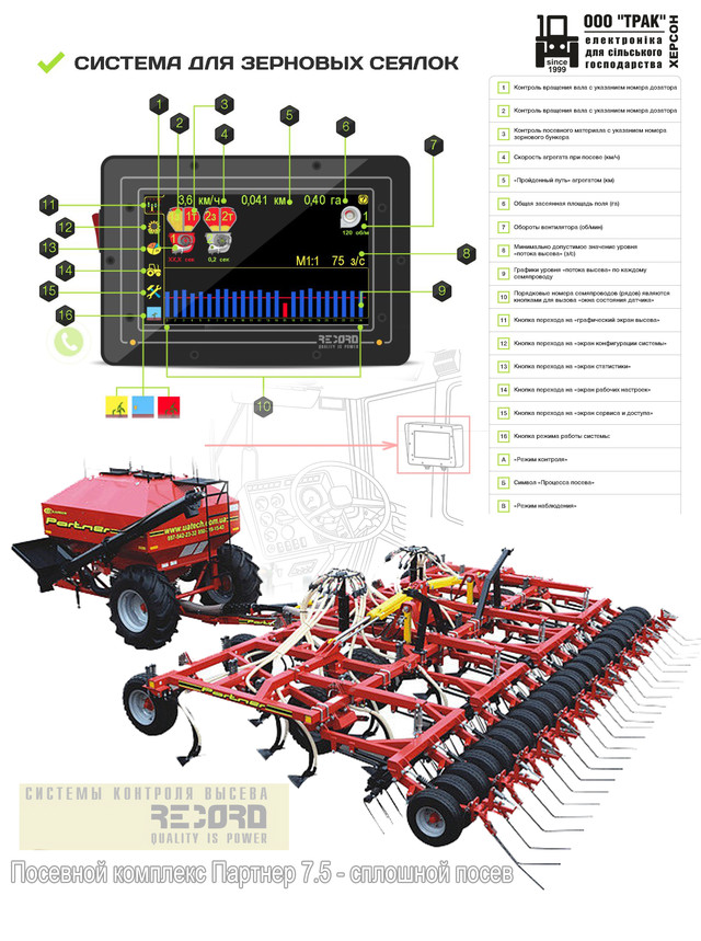 Система контроля высева на Посевной комплекс Партнер 7,5 - сплошной посев